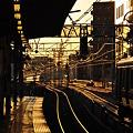 夕陽に染まる鉄路