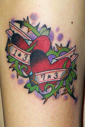 ハート イバラ 帯 数字 腕/tattoo.タトゥー.刺青
