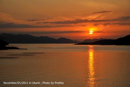 内海 夕陽